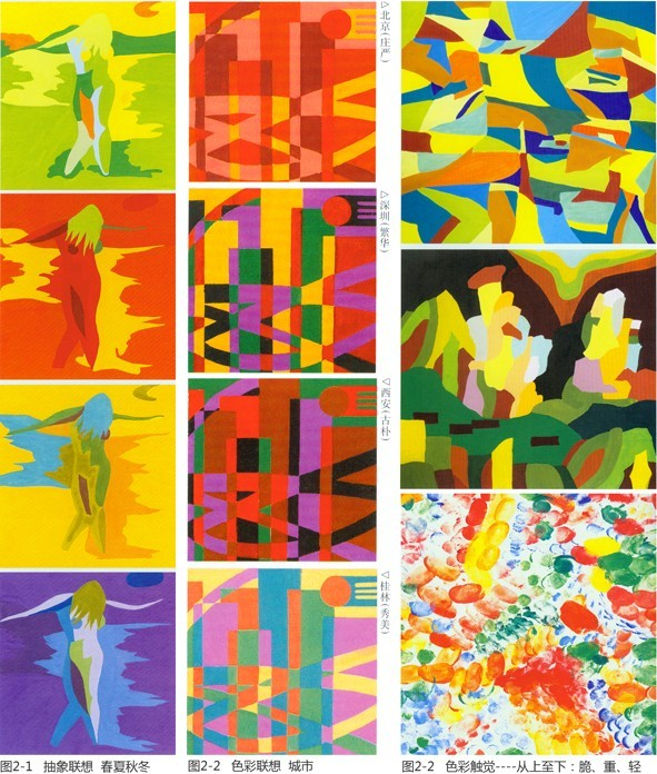 右图2 色彩与心理或色彩联想环节教学作业; 色彩构成春夏秋冬 色彩