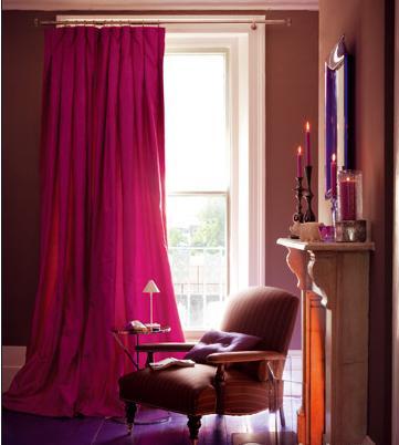 红色窗帘搭配效果图