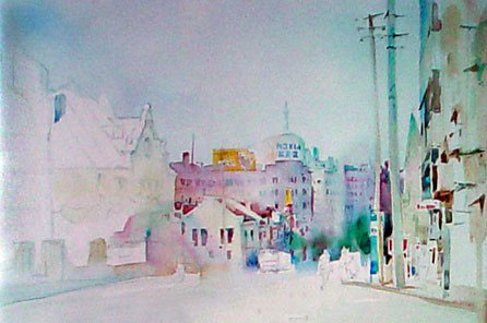 水彩风景《下坡的街道》写生步骤-中国色彩网