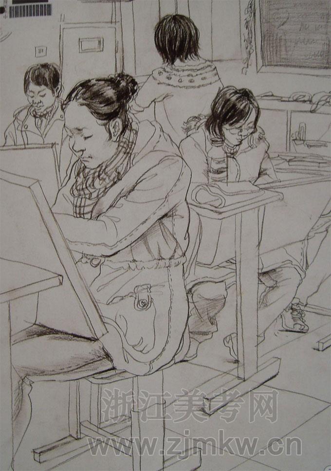 中央美术学院09年中国画专业招生考试速写试卷  中央美术学院09年中国画专业招生考试速写试卷