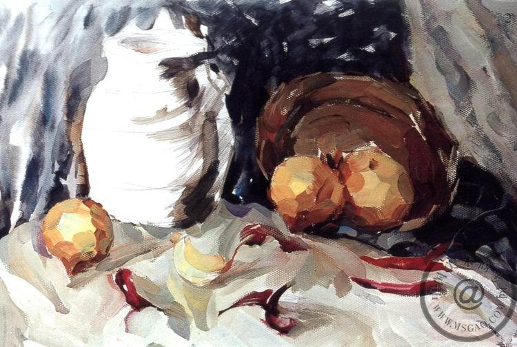 《罐子,圆葱和红辣椒》色彩写生步骤