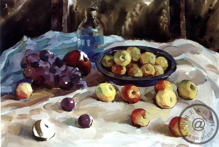 《葡萄和苹果》色彩写生步骤