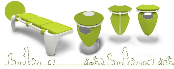 (图—3 动物园城市家具运用的艳丽的基调色彩) 除了城市中划分出各种功能性大区域外,每个城市都有一些功能个性较为鲜明的小区域,如:动物园、儿童活动中心等。其城市家具的色彩设计与运用要注重小区域中人群需求。如(图—3):动物园活动人群以儿童居多,其区域的城市家具在色彩的运用方面可以采用较为艳丽的基调色,引导活跃、快乐的气氛。 3.
